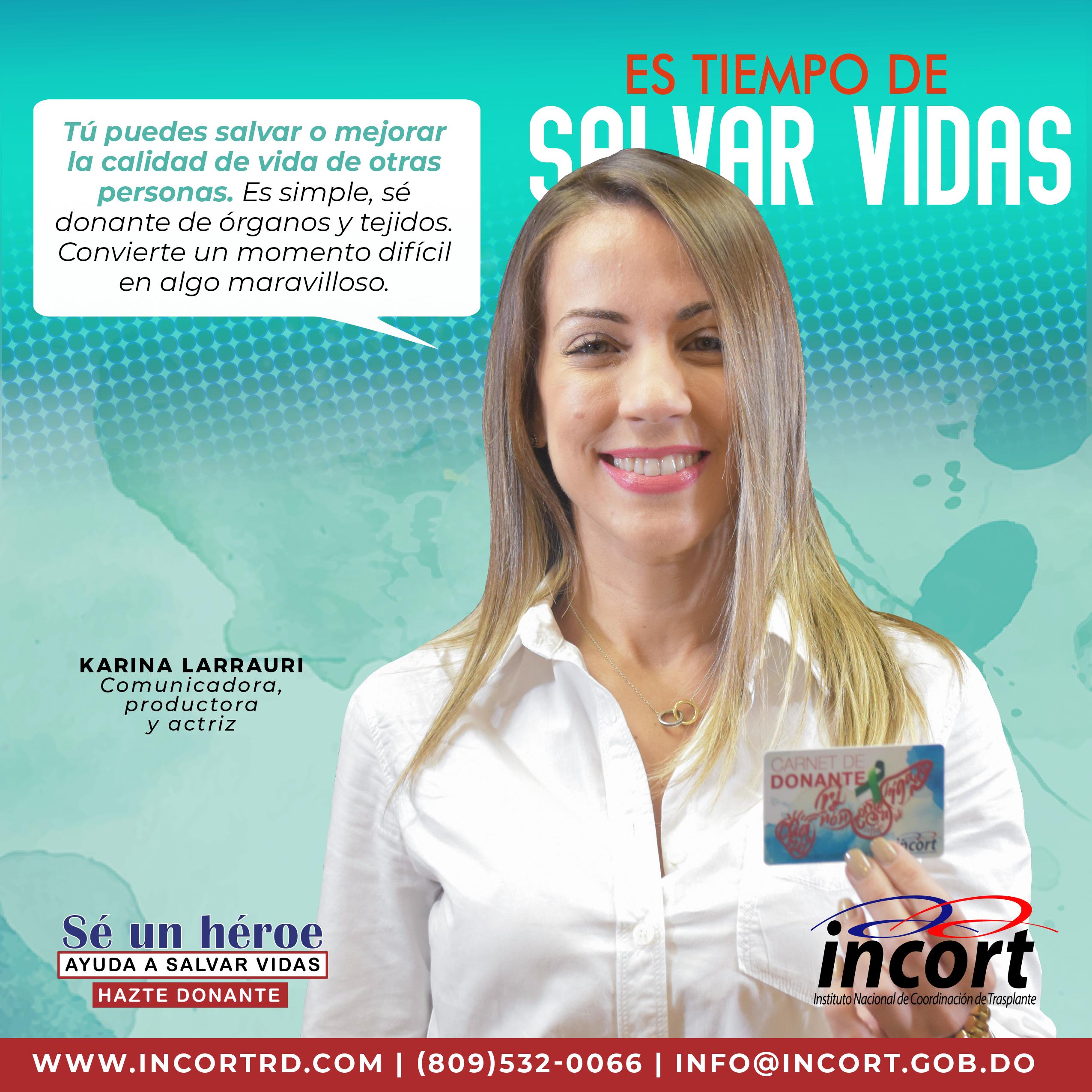 """Karina Larrauri como parte de la campaña """"Hazte donante"""""""